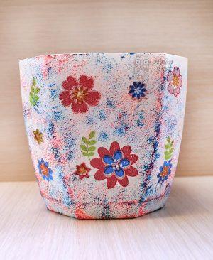 Çiçek Desenli Dekupaj Saksı 2