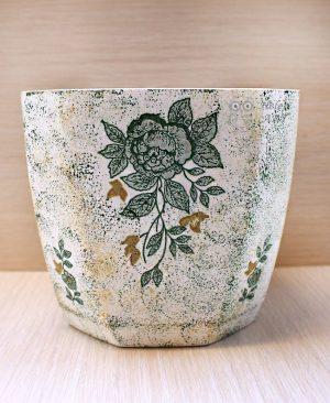 Çiçek Desenli Dekupaj Saksı 3