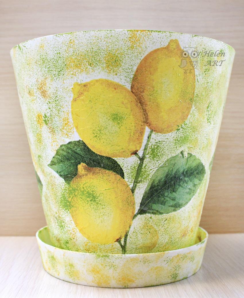 Limon Dalı Desenli Dekupaj Saksı