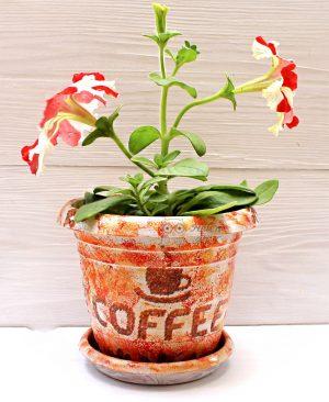Coffee Fincanı Desenli Dekupaj Saksı