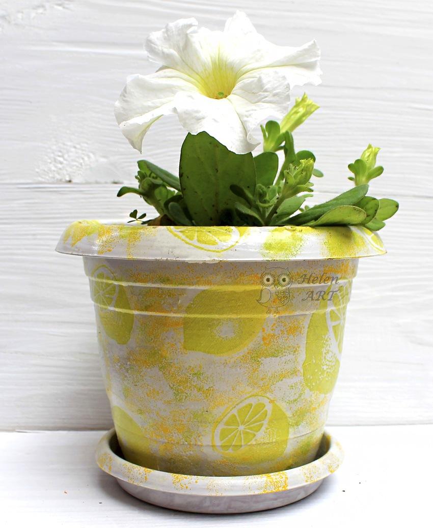 Limon Desenli Dekupaj Saksı
