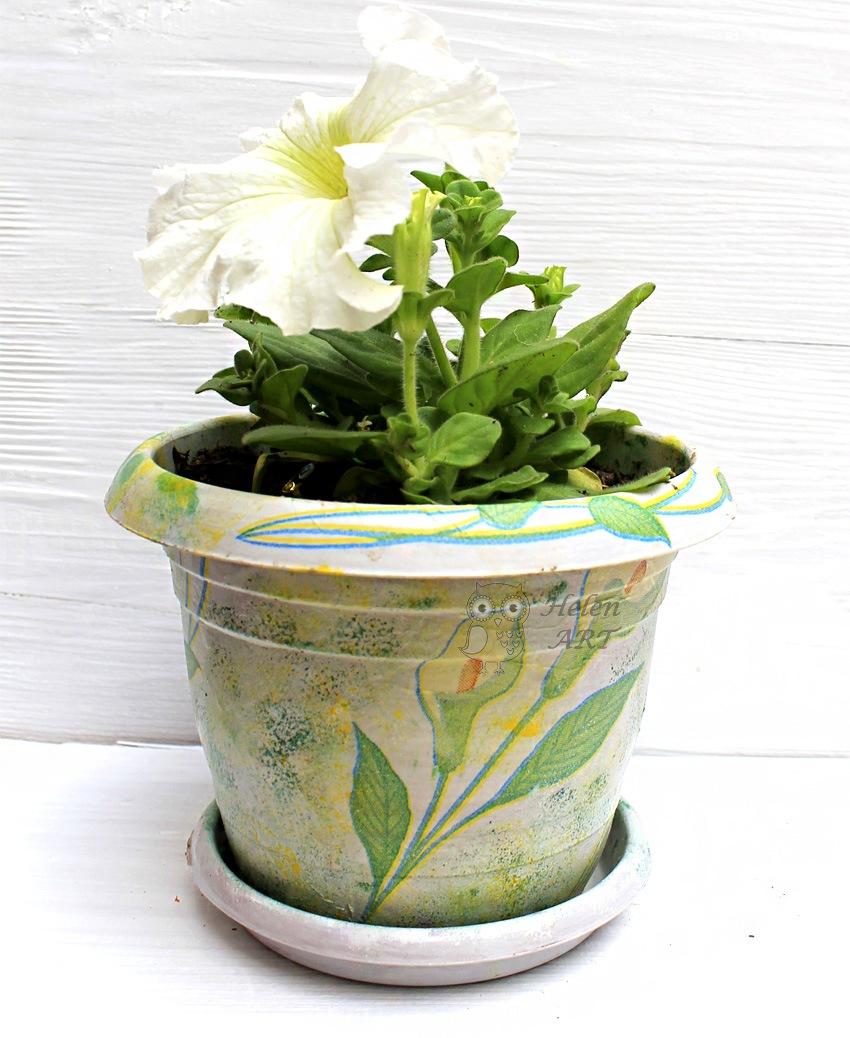 Kala Çiçeği Desenli Dekupaj Saksı