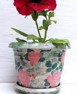 Çiçek Desenli Dekupaj Saksı 12