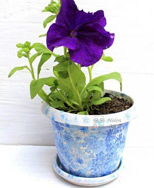 Çiçek Desenli Dekupaj Saksı 13