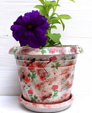 Çiçek Desenli Dekupaj Saksı 14