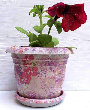 Çiçek Desenli Dekupaj Saksı 15