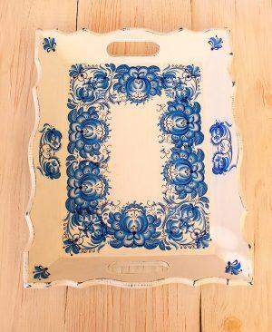 Helenart - Dekupaj Tepsi - Mavi Çiçek Desenli - Küçük Boy