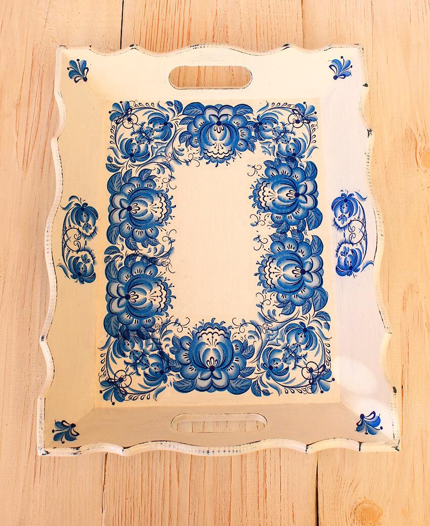 Helenart – Dekupaj Tepsi – Mavi Çiçek Desenli – Küçük Boy